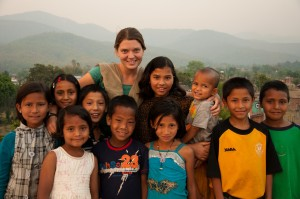 Maggie Doyne with children from Kopila Valley Children's Home in Nepal